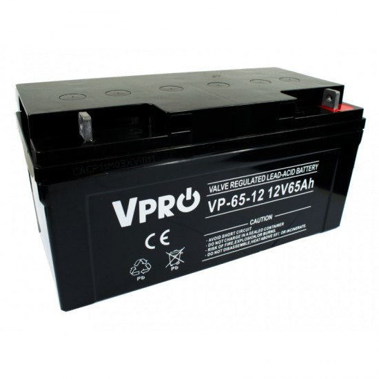 VPRO Bezúdržbový AGM VRLA olovený akumulátor 12V 65Ah - KAMAX